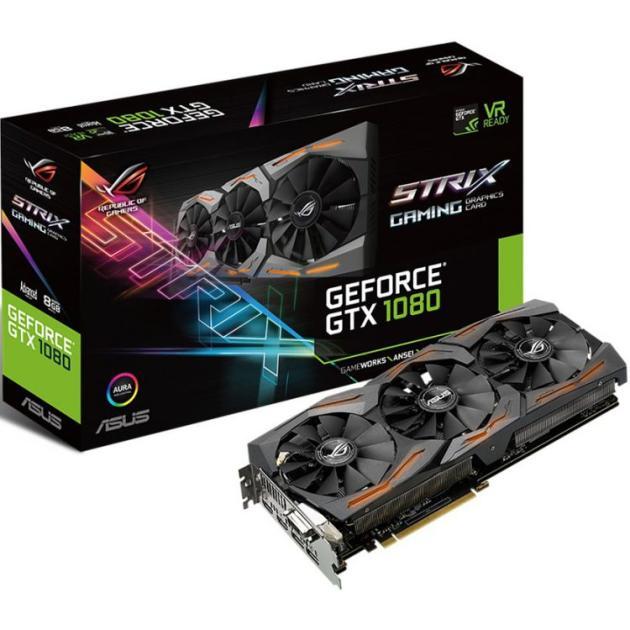 Видеокарта Asus NVIDIA GeForce GTX 1080 STRIX GAMING 8192Мб, GDDR5,1695MHz, STRIX-GTX1080-A8G-GAMING asus geforce gtx1080 strix 1670mhz pci e 3 0 8192mb 10010mhz 256bit dvi 2hdmi 2dp strix gtx1080 a8g gami
