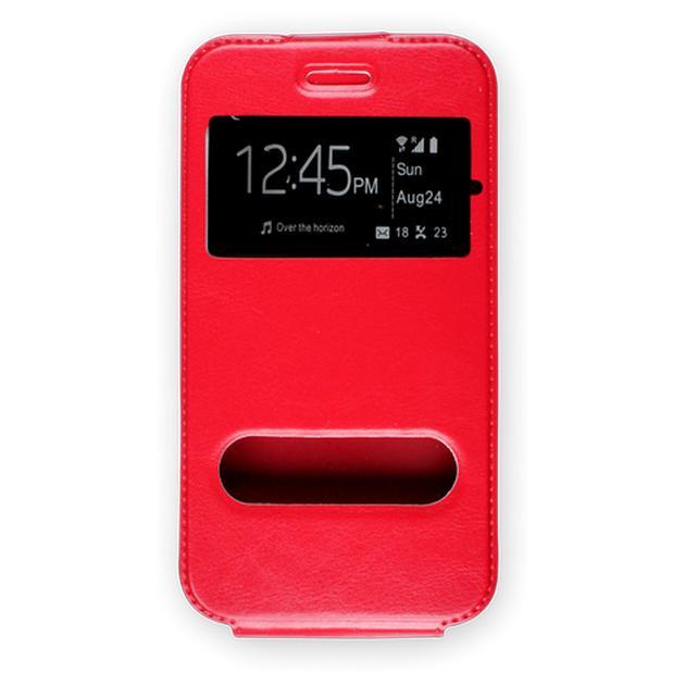 """Универсальный чехол ЭКО.Flip-case 4.0""""-4.2"""" вертикальныйфлип, экокожа, Красный"""