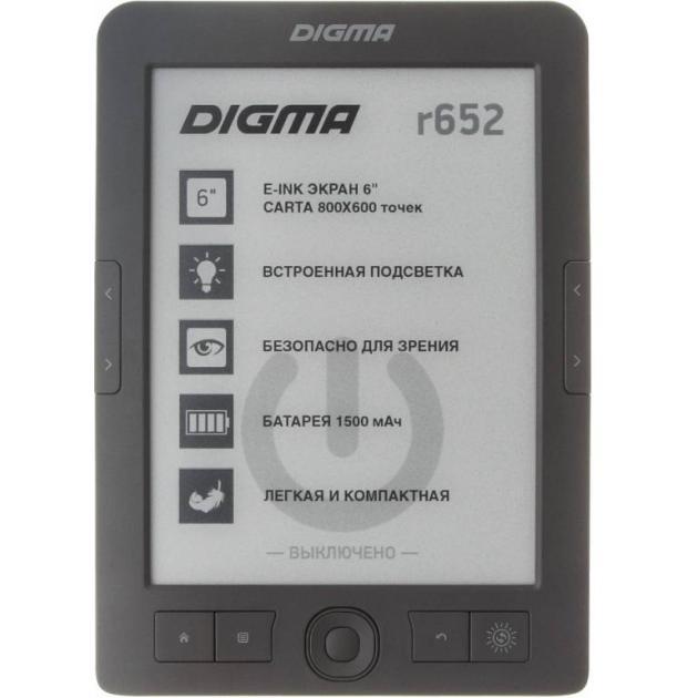 "Digma r652 E-Ink, Серый, 6"", Встроенная подсветка"