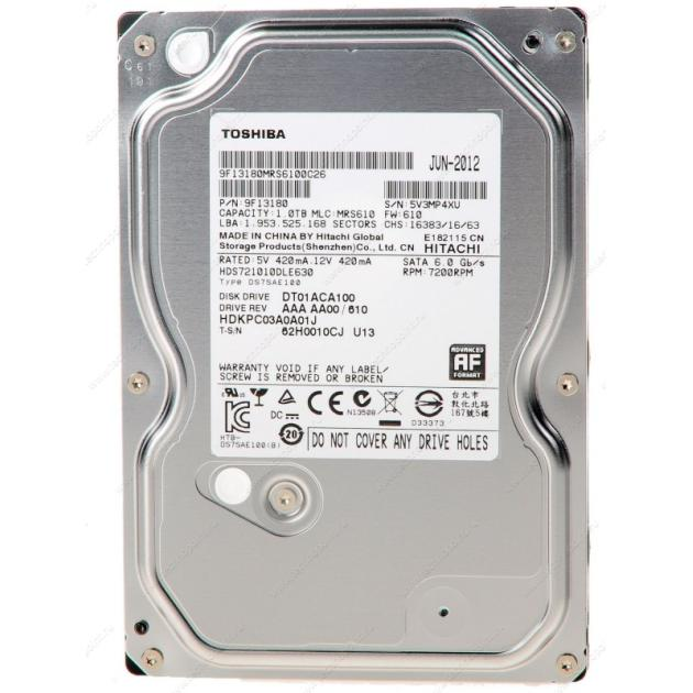 """все цены на  Жесткий диск Toshiba DT01ACA100 1Tb 7200 rpm 32Mb 1024Гб, 600, 3.5"""" HDD  онлайн"""