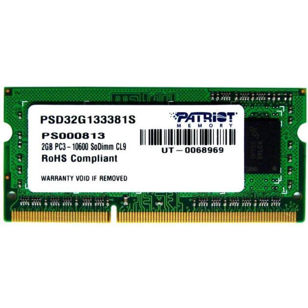 Оперативная память Patriot Memory PSD34G133381S DDR3, 1, 2Гб, PC3-10600, 1333МГц, SO-DIMM