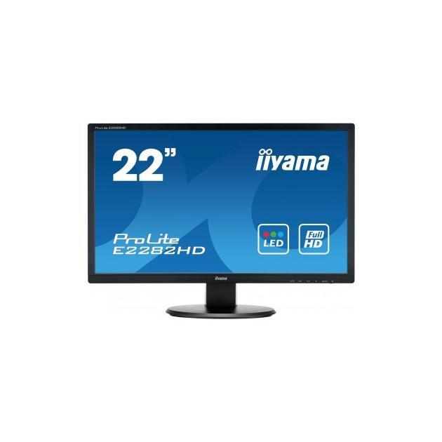Монитор Iiyama ProLite E2282HD-B1 21.5, Черный, TFT TN, 1920x1080, Full HD, DVI монитор 20 iiyama prolite e2083hsd b1 tn led 1600x900 5ms vga dvi
