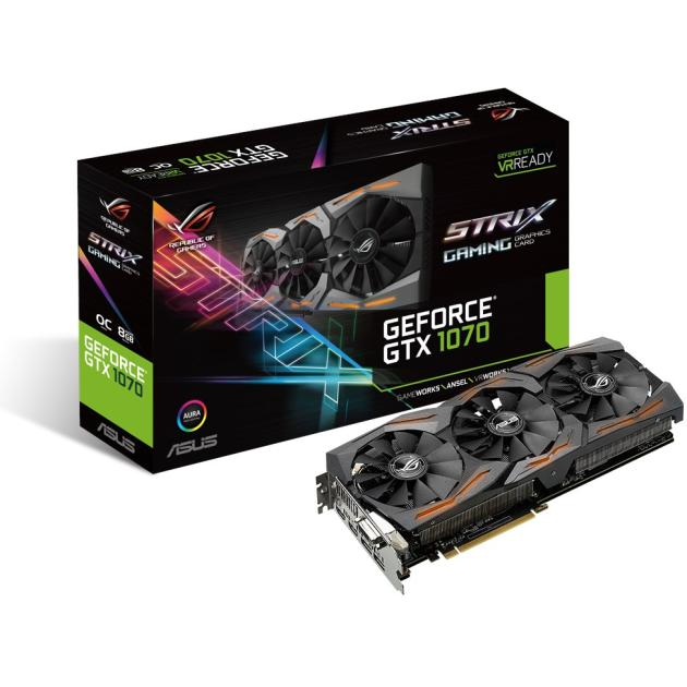 Видеокарта Asus GeForce GTX 1070 1657Mhz PCI-E 3.0 8192Mb 8008Mhz 256 bit DVI 2xHDMI HDCP asus asus geforce gtx 1060 1506mhz pci e 3 0 6144mb 8008mhz 192 bit dvi 2xhdmi hdcp turbo