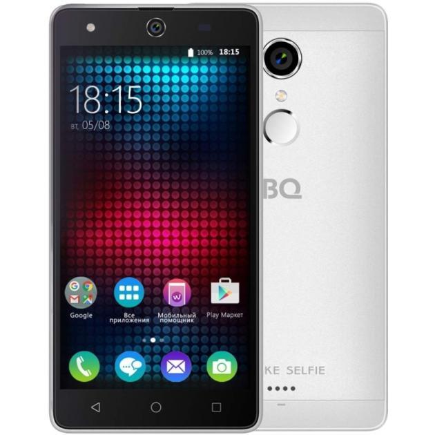Смартфон BQ-Mobile BQ BQS-5050 Strike Selfie Серебристый аксессуар чехол bq bqs 5050 strike selfie zibelino classico black zcl bq bqs 5050 blk