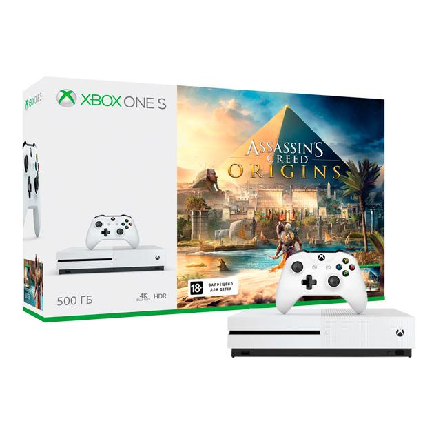 Консоль Microsoft Xbox One S 500 Гб + Assassin's Creed Origins картридж samsung mlt d105l