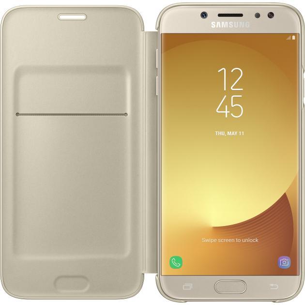 все цены на  Чехол Samsung Wallet Cover для Samsung Galaxy J7 2017 чехол-книжка, поликарбонат, Золотой  онлайн