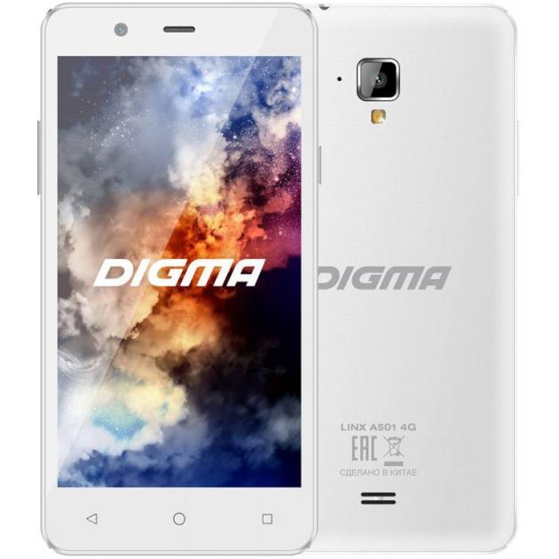 Смартфон Digma LINX A501 4G 8Гб, Белый, Dual SIM, 4G LTE, 3G смартфон ginzzu rs93d 8гб черный dual sim 3g