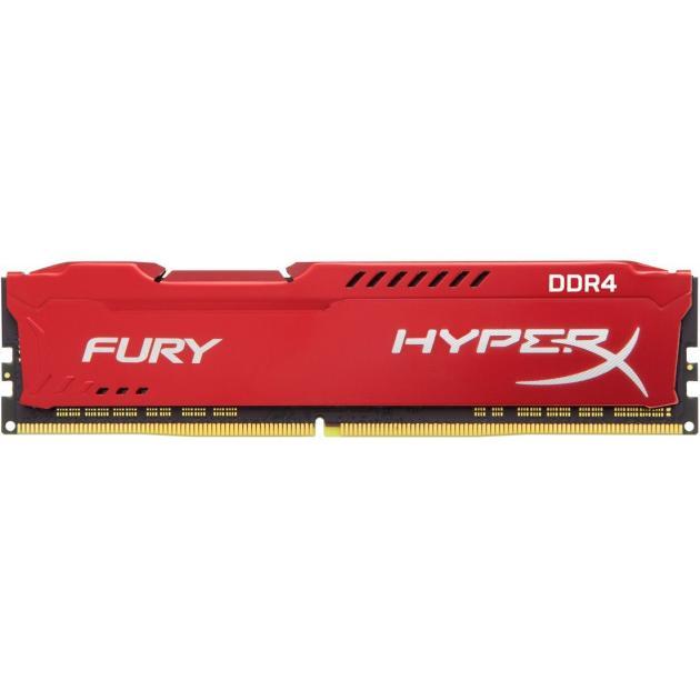 Оперативная память Kingston HyperX Fury HX421C14FR/16 DDR4, 8GB, PC4-17000, 2133, Красный оперативная память kingston 16gb 2133mhz ddr4 non ecc 1dimm hyperx fury red hx421c14fr2k2 16