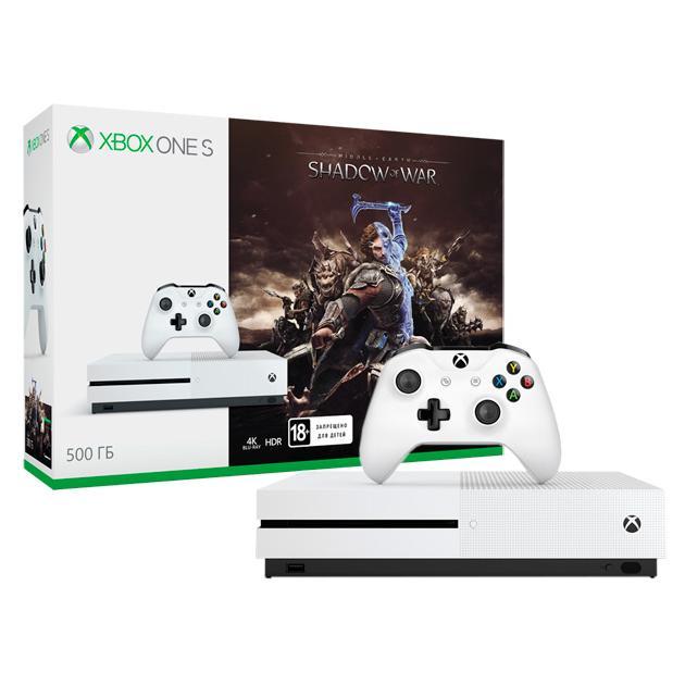 Консоль Microsoft Xbox One S 500 Гб + Shadow of War игровая консоль microsoft xbox one s 500 gb forza horizon 3 dlc