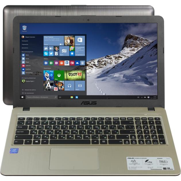 "Ноутбук Asus VivoBook X540SA-XX020T 15.6"", Intel Pentium, 1600МГц, 2Гб RAM, DVD-RW, 500Гб, Черный, Wi-Fi, Windows 10, Bluetooth  asus vivobook x540sa chocolate black x540sa xx012d"