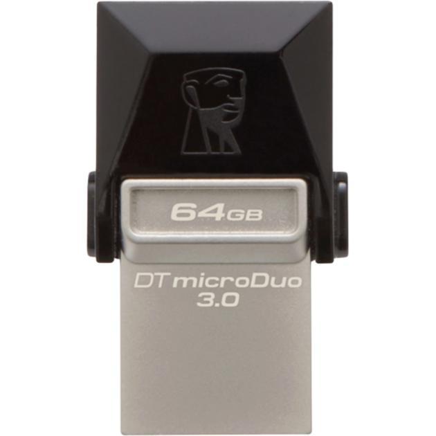 Флешка Kingston DataTraveler microDuo 3.0 64Гб, Темно-серый, USB 3.0/microUSB