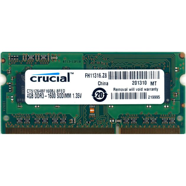 Crucial CT51264BF160BJ DDR3L, 4Гб, PC3-12800, 1600, SO-DIMM