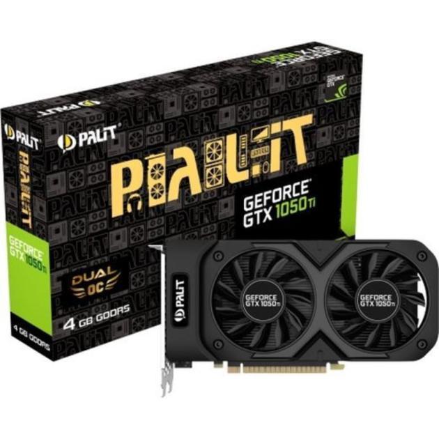 Palit GeForce GTX 1050 Ti 1366Mhz PCI-E 3.0 4096Mb 7000Mhz 128 bit DVI HDMI HDCP Dual OC