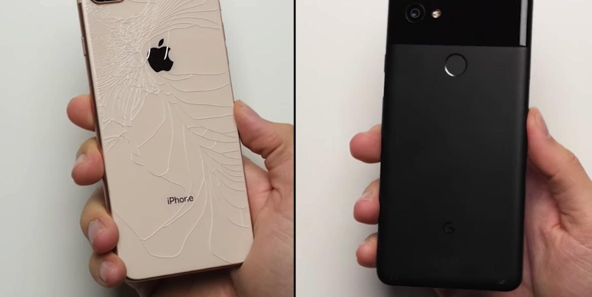 Дроп-тест iPhone 8 Plus и Pixel 2 XL