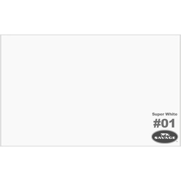 """Фон бумажный Savage 1-50 WIDETONE SUPER WHITE цвет """"Супер Белый"""", 2,72 x 44 метра S1-50"""