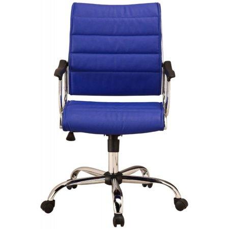 Кресло руководителя Бюрократ CH-994AXSN/Blue низкая спинка синий искусственная кожа крестовина хромированная