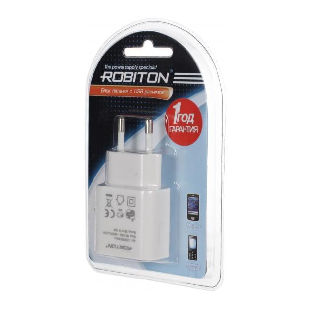 Адаптер/блок питания Robiton USB1000 white 1000mA с USB входом