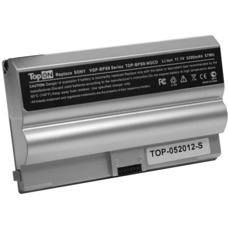 TopON Аккумулятор для SONY VAIO VGN-FZ Series 11.1V 5200mAh SILVER PN: VGP-BPS8A VGP-BPS8B VGP-BPL8A VGP-BPL8B