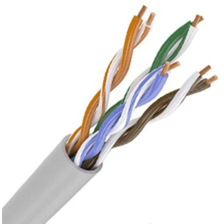 Кабель связи витая пара ШПД U/UTP, кат.5E 24AWG, 4х2х0,48мм solid, PVC, 305м, серый