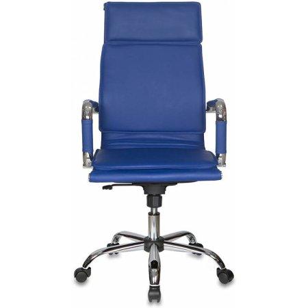 Кресло руководителя Бюрократ CH-993/blue синий искусственная кожа крестовина хромированная