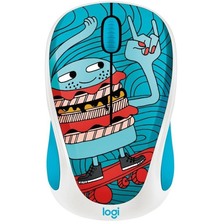 Logitech Wireless Mouse M238 Doodle Collection Skateburger