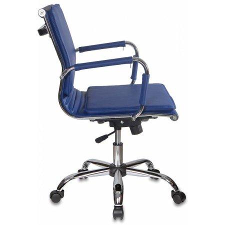 Кресло руководителя Бюрократ CH-993-Low/blue низкая спинка синий искусственная кожа крестовина хромированная