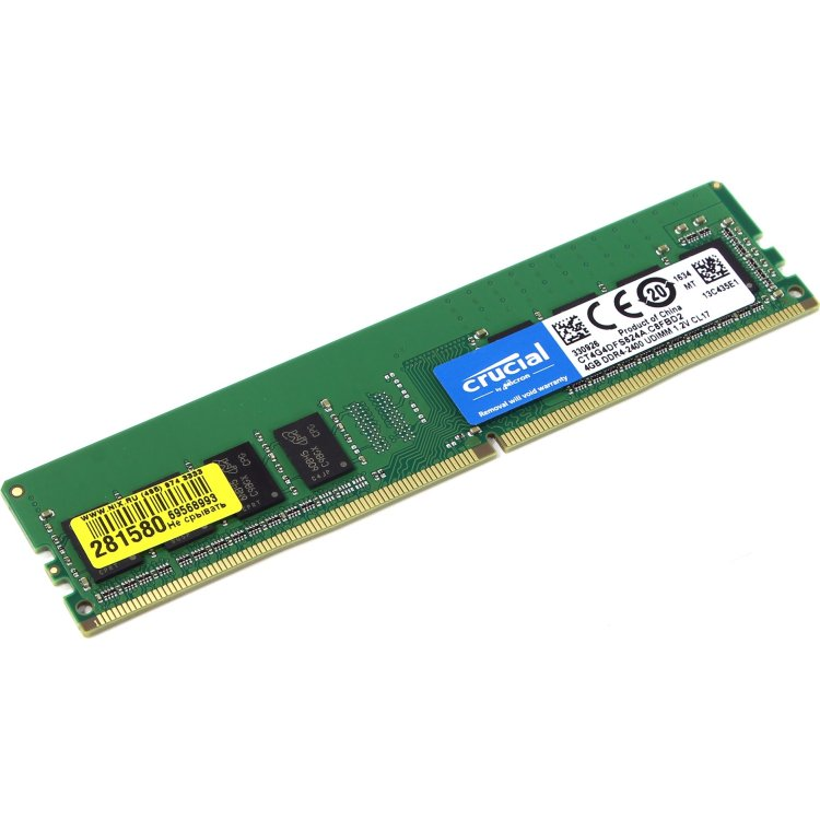 Crucial CT4G4DFS824A DDR4, 4Гб, PC4-19200, 2400, DIMM
