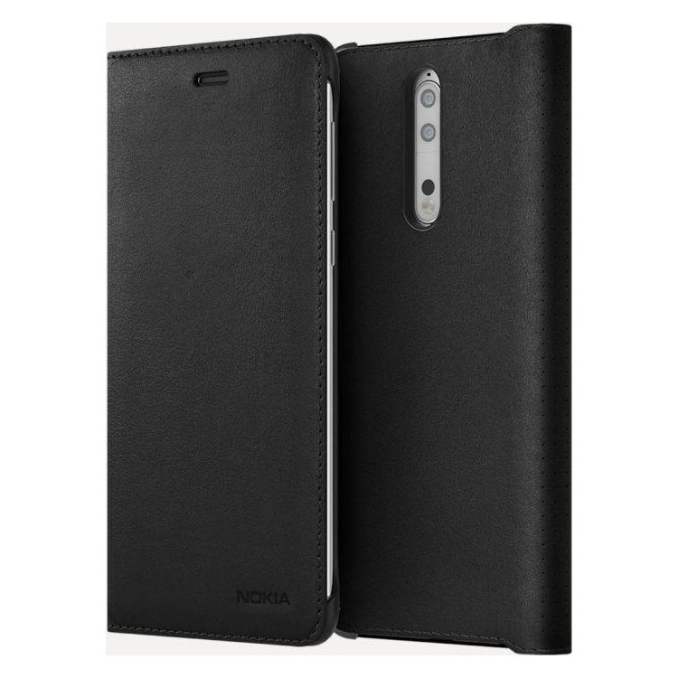 Nokia 8 Leather Flip Cover Черный