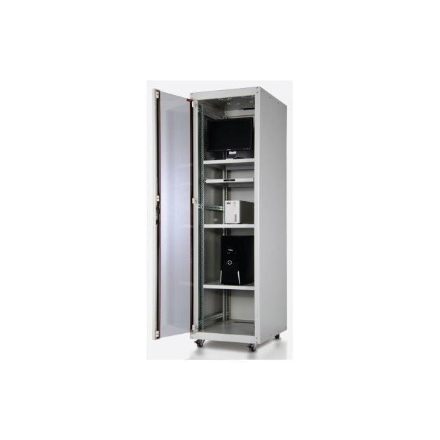 """Шкаф напольный ECOline 19"""" 22U 600x600 передняя дверь одностворчатая стекло с металлической рамой слева и справа, задняя дверь одностворчатая сплошная металлическая, цвет серый"""