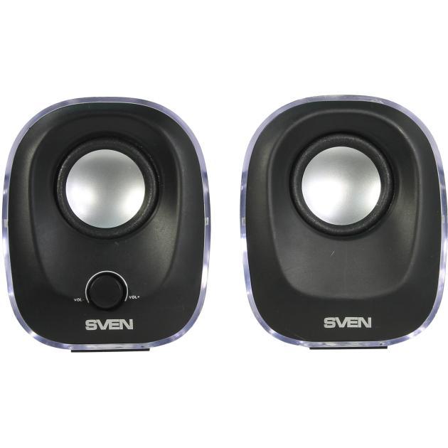 Sven 330 Черный, 2.0, mini jack, Пластик