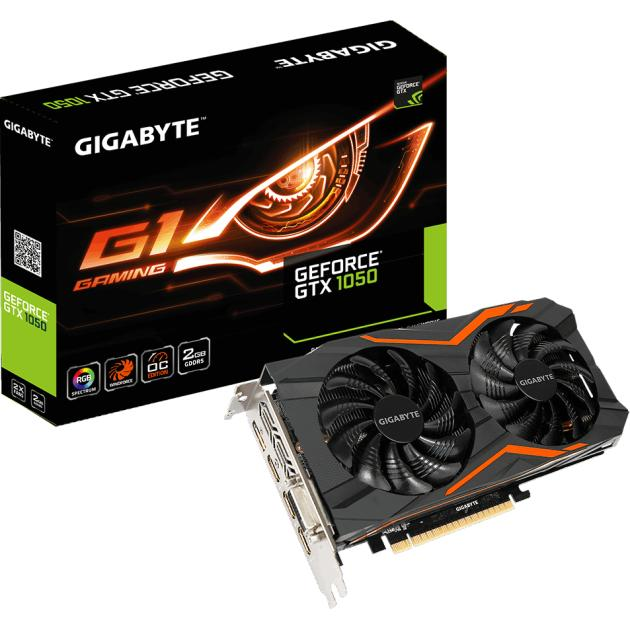 Gigabyte GeForce GTX 1050 G1 Gaming 2G PCI-E 16x 3.0, 2048Мб, GDDR5