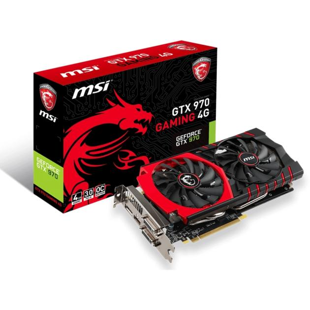 MSI NVIDIA GeForce GTX 970 GAMING 4G 4096Мб, GDDR5, 1140MHz, PCI-E 16x 3.0