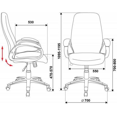 Кресло руководителя Бюрократ T-700DG/OR-16 черный Or-16 искусственная кожа (пластик темно-серый)