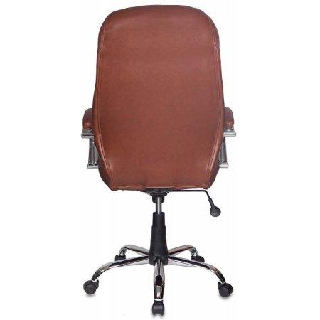 Кресло руководителя Бюрократ T-9930SL/Brown коричневый кожа крестовина хромированная