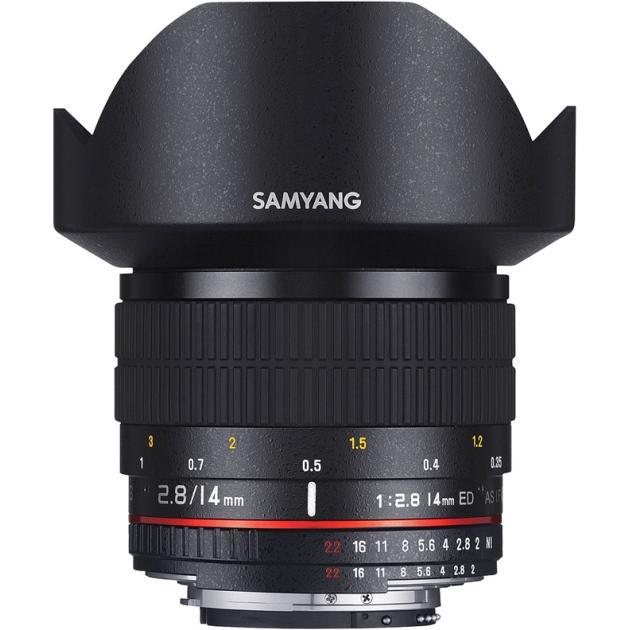 Samyang 14mm f/2.8 ED AS IF UMC AE для Canon EF Широкоугольный, Canon EF, Совместимость с полнокадровыми фотоаппаратами
