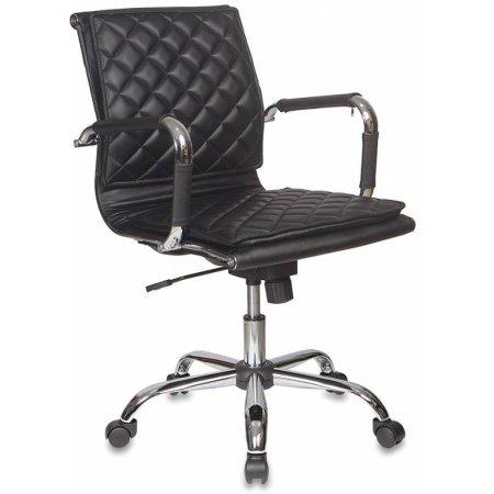Кресло руководителя Бюрократ CH-991-LOW/BLACK низкая спинка черный искусственная кожа крестовина хром