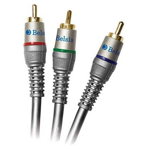 Кабель аудио-видео Belsis BW1591 3хRCA (m)/3хRCA (m) 1м. Позолоченные контакты серый