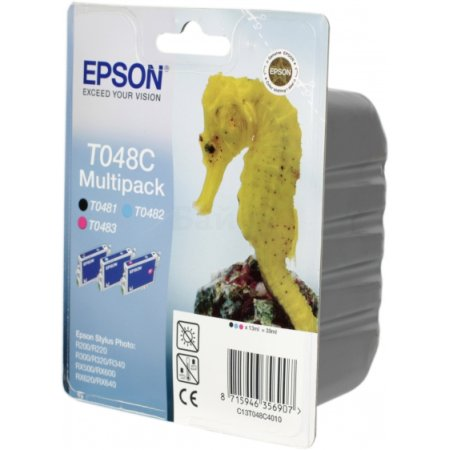 Epson C13T048C4010 Черный, Картридж струйный, Стандартная, Пурпурный, Голубой