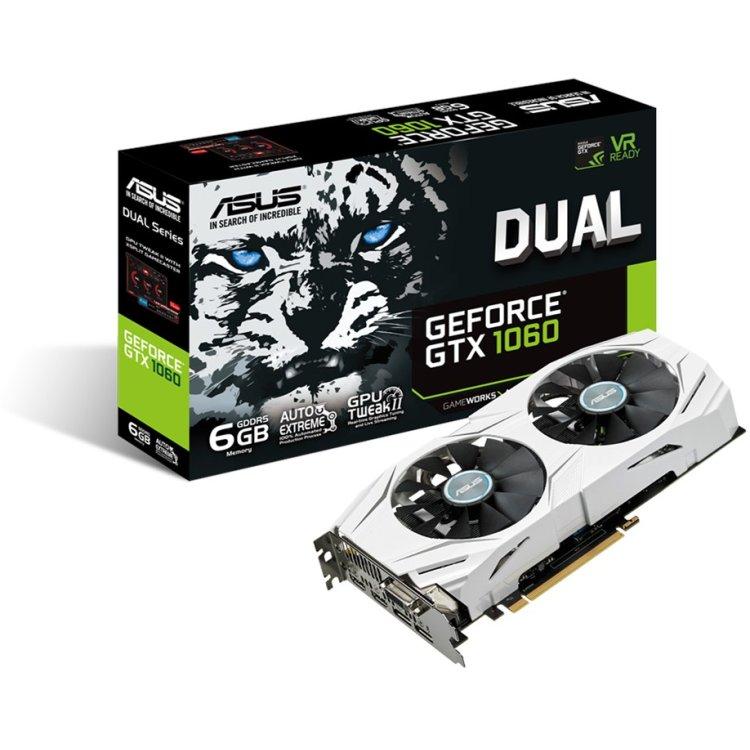 Asus NVIDIA GeForce GTX 1060 DUAL 6144Мб, GDDR5, 1506MHz, DUAL-GTX1060-6G