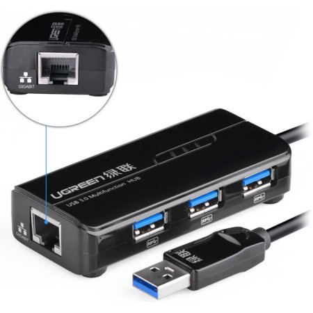 USB хаб UGREEN USB 3.0 на 2 порта + Ethernet  (UG-20265)