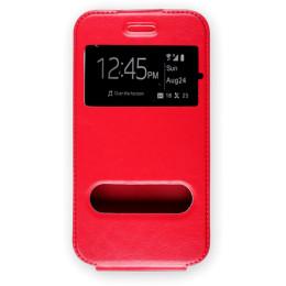 """Универсальный чехол ЭКО.Flip-case 4.0""""-4.2"""" вертикальный флип, экокожа, Красный"""