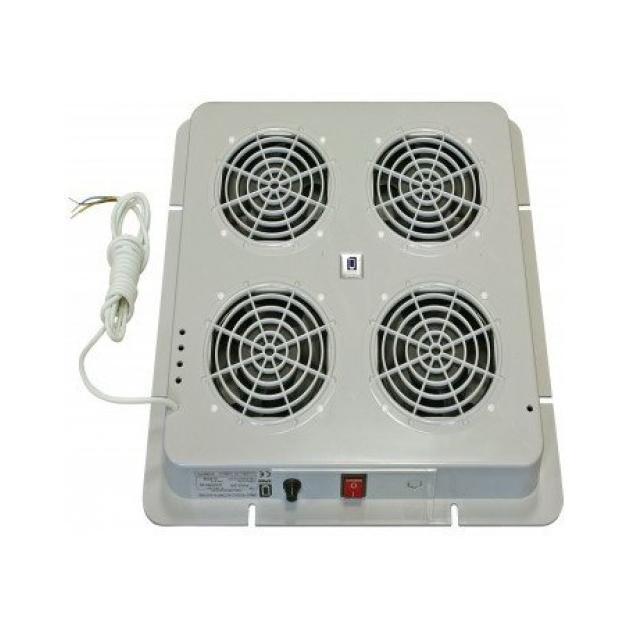 """19"""" 1U Вентиляторный модуль с 4 вентиляторами и термостатом, серый"""