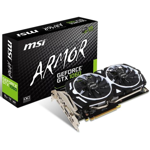 MSI NVIDIA GeForce GTX 1060 ARMOR v.1 6144Мб, GDDR5, 1544MHz, PCI-Ex16 3.0 GeForceGTX1060ARMOR6GOCV1