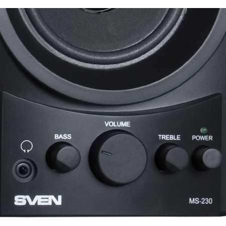 Sven MS-230 Черный, 2.0, 2RCA, MDF, Дерево