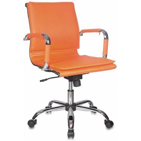 Кресло руководителя Бюрократ CH-993-Low/orange низкая спинка оранжевый искусственная кожа крестовина хромированная