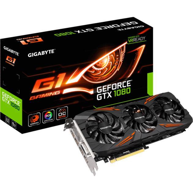 Gigabyte GeForce GTX 1080 G1 Gaming 8G 8192Мб, GDDR5, 1721MHz, GV-N1080G1GAMING-8GD