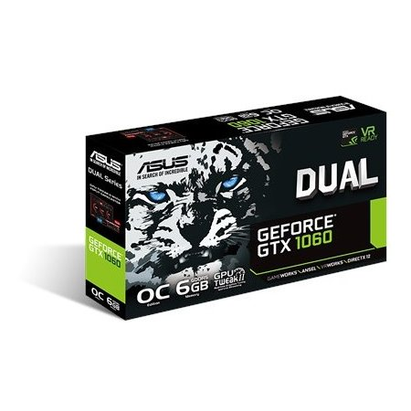 Asus NVIDIA GeForce GTX 1060 OC DUAL 6144Мб,GDDR5,1506MHz, DUAL-GTX1060-O6G GTX 1060 OC DUAL - 6144Мб,GDDR5,1506MHz, DUAL-GTX1060-O6G