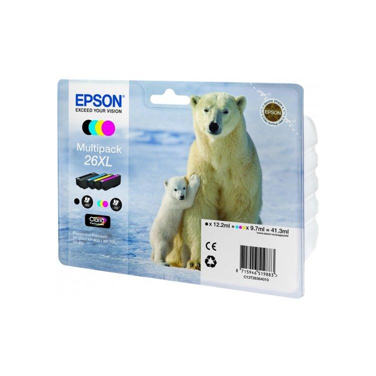 Epson 26XL, Пурпурный, Голубой, Желтый, Картридж струйный, Стандартная