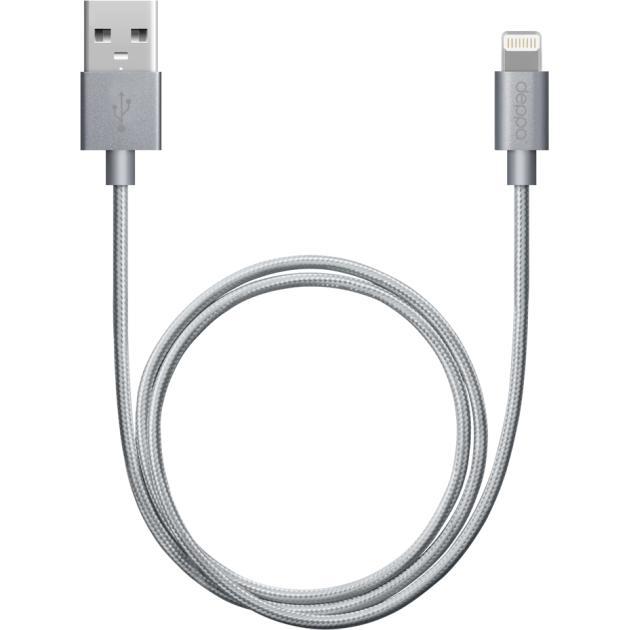 Deppa MFI lightning 8pin-USB 1.2м, Lightning, USB, Серый