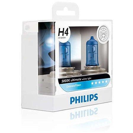 Лампа галогенная PHILIPS H1 Diamond Vision 5000K 12V 55W, комплект 2шт, 12258DVS2